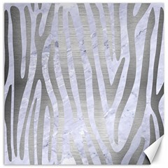 Skin4 White Marble & Silver Brushed Metal Canvas 12  X 12   by trendistuff