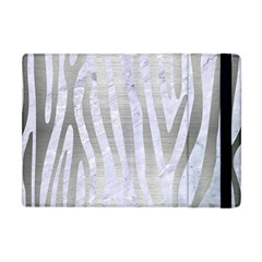 Skin4 White Marble & Silver Brushed Metal Apple Ipad Mini Flip Case