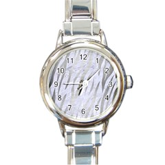 Skin3 White Marble & Silver Brushed Metal (r) Round Italian Charm Watch by trendistuff