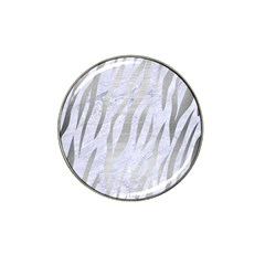 Skin3 White Marble & Silver Brushed Metal (r) Hat Clip Ball Marker (4 Pack) by trendistuff