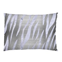 Skin3 White Marble & Silver Brushed Metal Pillow Case by trendistuff