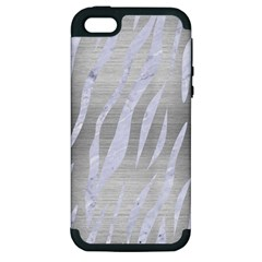 Skin3 White Marble & Silver Brushed Metal Apple Iphone 5 Hardshell Case (pc+silicone) by trendistuff