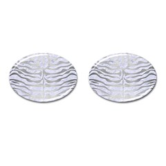 Skin2 White Marble & Silver Brushed Metal (r) Cufflinks (oval) by trendistuff