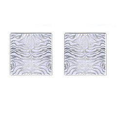Skin2 White Marble & Silver Brushed Metal (r) Cufflinks (square) by trendistuff