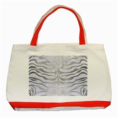 Skin2 White Marble & Silver Brushed Metal (r) Classic Tote Bag (red) by trendistuff
