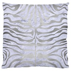 Skin2 White Marble & Silver Brushed Metal (r) Large Flano Cushion Case (one Side) by trendistuff