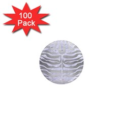 Skin2 White Marble & Silver Brushed Metal 1  Mini Magnets (100 Pack)  by trendistuff