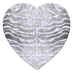 Skin2 White Marble & Silver Brushed Metal Jigsaw Puzzle (heart) by trendistuff