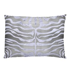 Skin2 White Marble & Silver Brushed Metal Pillow Case by trendistuff