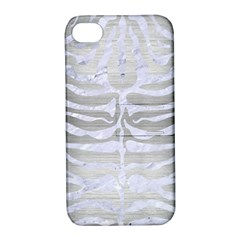 Skin2 White Marble & Silver Brushed Metal Apple Iphone 4/4s Hardshell Case With Stand by trendistuff