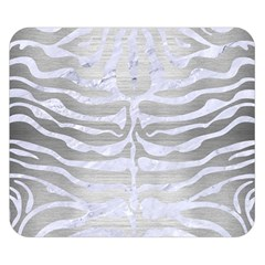 Skin2 White Marble & Silver Brushed Metal Double Sided Flano Blanket (small)  by trendistuff
