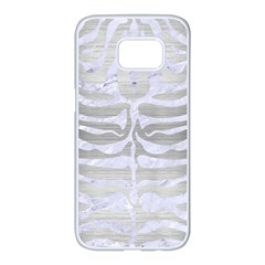 Skin2 White Marble & Silver Brushed Metal Samsung Galaxy S7 Edge White Seamless Case