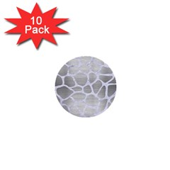 Skin1 White Marble & Silver Brushed Metal (r) 1  Mini Buttons (10 Pack)