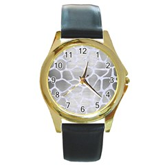Skin1 White Marble & Silver Brushed Metal (r) Round Gold Metal Watch by trendistuff