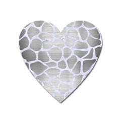 Skin1 White Marble & Silver Brushed Metal (r) Heart Magnet by trendistuff