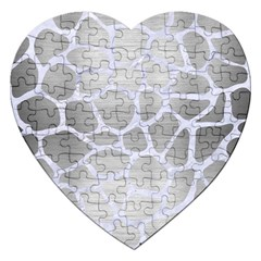 Skin1 White Marble & Silver Brushed Metal (r) Jigsaw Puzzle (heart) by trendistuff