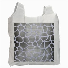Skin1 White Marble & Silver Brushed Metal (r) Recycle Bag (one Side) by trendistuff