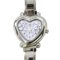 Skin1 White Marble & Silver Brushed Metal Heart Italian Charm Watch