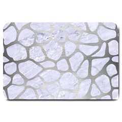 Skin1 White Marble & Silver Brushed Metal Large Doormat  by trendistuff