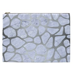 Skin1 White Marble & Silver Brushed Metal Cosmetic Bag (xxl)  by trendistuff