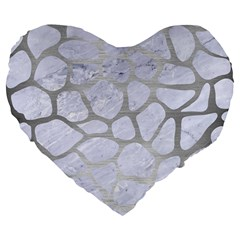 Skin1 White Marble & Silver Brushed Metal Large 19  Premium Flano Heart Shape Cushions by trendistuff