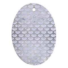 Scales3 White Marble & Silver Brushed Metal (r) Ornament (oval) by trendistuff