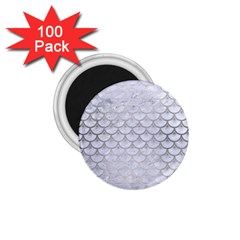 Scales3 White Marble & Silver Brushed Metal (r) 1 75  Magnets (100 Pack)  by trendistuff