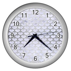Scales3 White Marble & Silver Brushed Metal (r) Wall Clocks (silver)  by trendistuff