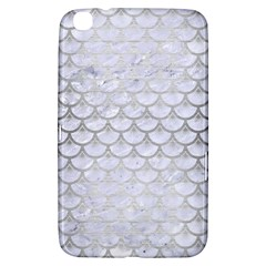 Scales3 White Marble & Silver Brushed Metal (r) Samsung Galaxy Tab 3 (8 ) T3100 Hardshell Case  by trendistuff