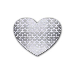 Scales3 White Marble & Silver Brushed Metal Heart Coaster (4 Pack)  by trendistuff
