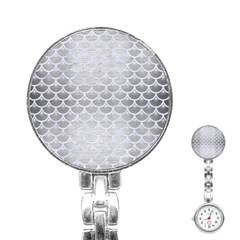Scales3 White Marble & Silver Brushed Metal Stainless Steel Nurses Watch by trendistuff