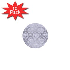 Scales2 White Marble & Silver Brushed Metal (r) 1  Mini Buttons (10 Pack)