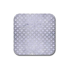 Scales2 White Marble & Silver Brushed Metal (r) Rubber Coaster (square)  by trendistuff