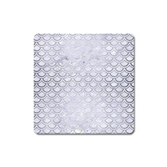 Scales2 White Marble & Silver Brushed Metal (r) Square Magnet