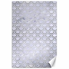 Scales2 White Marble & Silver Brushed Metal (r) Canvas 24  X 36  by trendistuff