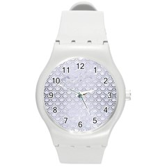 Scales2 White Marble & Silver Brushed Metal (r) Round Plastic Sport Watch (m) by trendistuff