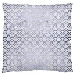Scales2 White Marble & Silver Brushed Metal (r) Large Flano Cushion Case (two Sides) by trendistuff