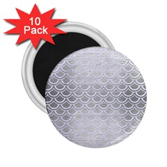 Scales2 White Marble & Silver Brushed Metal 2 25  Magnets (10 Pack)  by trendistuff