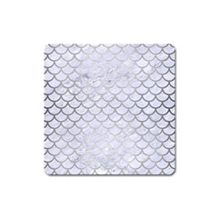 Scales1 White Marble & Silver Brushed Metal (r) Square Magnet by trendistuff