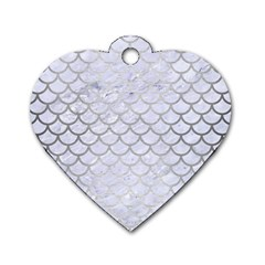 Scales1 White Marble & Silver Brushed Metal (r) Dog Tag Heart (two Sides)