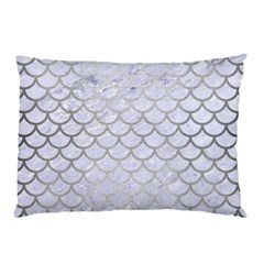 Scales1 White Marble & Silver Brushed Metal (r) Pillow Case by trendistuff
