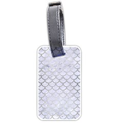 Scales1 White Marble & Silver Brushed Metal (r) Luggage Tags (one Side)  by trendistuff