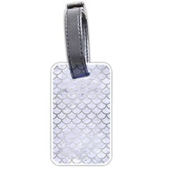 Scales1 White Marble & Silver Brushed Metal (r) Luggage Tags (two Sides) by trendistuff