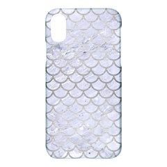 Scales1 White Marble & Silver Brushed Metal (r) Apple Iphone X Hardshell Case