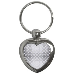 Scales1 White Marble & Silver Brushed Metal Key Chains (heart)  by trendistuff
