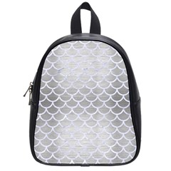 Scales1 White Marble & Silver Brushed Metal School Bag (small) by trendistuff