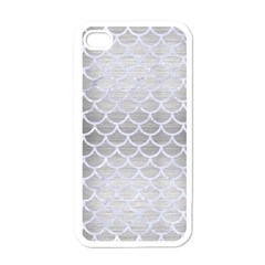 Scales1 White Marble & Silver Brushed Metal Apple Iphone 4 Case (white) by trendistuff