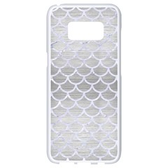 Scales1 White Marble & Silver Brushed Metal Samsung Galaxy S8 White Seamless Case by trendistuff
