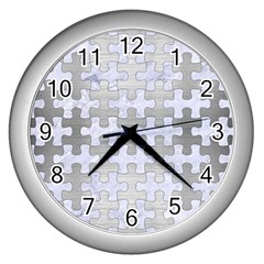 Puzzle1 White Marble & Silver Brushed Metal Wall Clocks (silver)  by trendistuff