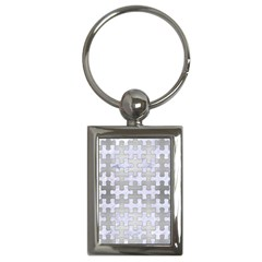 Puzzle1 White Marble & Silver Brushed Metal Key Chains (rectangle)  by trendistuff